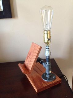 Industrial Style Wood and Pipe Phone Stand and Light