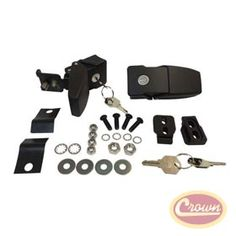 Locking Hood Catch Kit. Replaces Part #: LHC1. Fits: Jeep Wrangler (2007-2013); Black; Includes 2 hood lock assemblies, hardware and keys.