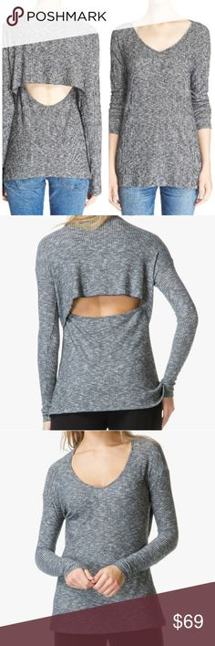 """NWT Rag & bone """"JONES"""" Open back knit top A rib-knit long-sleeve top flashes an intriguing bit of skin, thanks to a scooped back cutout and distinctive cape-like overlay. V-neck. Long sleeves. Semi-sheer; base layer recommended. 53% rayon, 22% polyester, 21% nylon, 4% spandex. Machine wash cold, line dry. By rag & bone/JEAN; made in the USA of imported fabric. True to size. L= 10-12 rag & bone Tops Tees - Long Sleeve"""