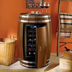 Is this not the coolest? It's a wine fridge, it's a wine table, it's a wine fridge...
