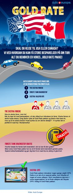 Gold Rate-pakken er for dig, som skal rejse til USA eller Canada, og som ønsker et eksta godt tilbud på din billeje! Med Gold Rate-pakken får du nemlig, udover din billeje mulighed for at tilskrive 3 ekstra fører til din billeje. Dette er især godt, hvis man står over for lange køreture, hvor det er optimalt at man skifter chauffør undervejs. Derudover får man første tank brændstof gratis og i nogle af pakkerne vil det også være muligt at få navigation med, uden ekstra gebyr.