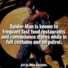 Spidey doesnt care, hes hungry he eats. Marvel Funny, Marvel Dc Comics, Marvel Heroes, Marvel Characters, Spider Man Facts, Comic Book Heroes, Comic Books, Superhero Facts, Marvel Facts