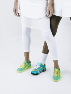 Bright blue and green sneakers for Solange's collaboration with Puma // Photo by SaintHeron.com