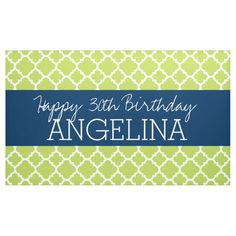 Shop Lime & Navy Quatrefoil Girly Happy Birthday Party Banner created by MarshBaby. Happy Birthday Parties, Happy Birthday Banners, 30th Birthday, Outdoor Banners, Word Out, Outdoor Events, Quatrefoil, Birthdays, Lime