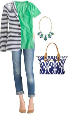 """Sea Glass & Ikat"" by christyscloset ❤ liked on Polyvore"