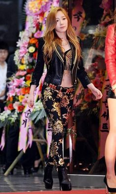 Black Leather Jacket with Floral Shiny Pants Fashion of Snsd Taeyeon