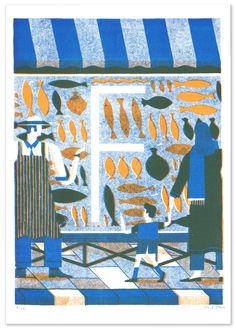 daviddoran:  F, Fish in Fulham // The Loop I recently created this 2 colour risograph print of a fishmongers in Fulham for The Loop.It's part of an illustrated alphabet series, where a whole bunch of talented illustrators have related an animal to an area of London beginning with their chosen letter. Head over totheir websitefor more details and to see the rest of the series.Thanks to Ellie and Claudia at The Loop!