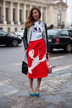 Paris Street Style Couture 2013. Tibi's surrealist lobster skirt from the Resort season looks at-home in the Paris chill thanks to a leather-accented topper. Sofia Guellaty wears a Francis Leon coat, a Reem Alkanhal shirt, a Tibi skirt and Manolo Blahnik shoes.