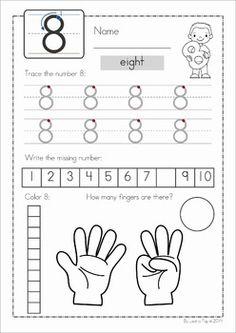 Number Tracing Worksheets For Kindergarten- 1-10