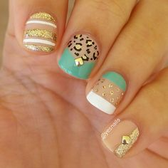 Gold leopard mixed manicure