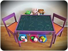 Ikea Hack.  Latt kid's table & chairs.