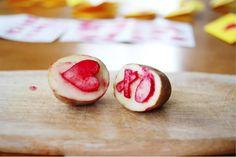 Make Potato Stamp Valentines
