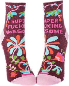 Super Fucking Awesome Socks and more Unique Gifts at Perpetual Kid. Our Super Fucking Awesome Women's Ankle Socks are, well, super fucking awesome. Funny Socks, Cute Socks, Awesome Socks, Silly Socks, Women's Socks, High Socks, Blue Q Socks, Crazy Socks, Dress Socks
