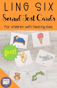FREE printable Ling 6 Sound Test Cards for children with hearing loss. Teach children with cochlear implants and hearing aids to identify these 6 sounds in order to ensure their hearing technology is functioning appropriately. Speech Activities, Language Activities, Therapy Activities, Therapy Ideas, Speech Language Pathology, Speech And Language, Cochlear Implants, Hearing Impairment, Deaf Children