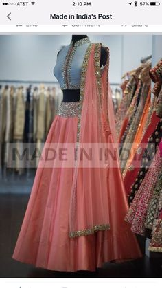 indian fashion Sari -- CLICK Visit above for more options Half Saree Lehenga, Lehnga Dress, Bridal Lehenga, I Dress, Anarkali, Banarasi Lehenga, Lehenga Gown, Indian Lehenga, Churidar