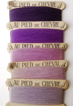 Vintage French thread in shades of purple.