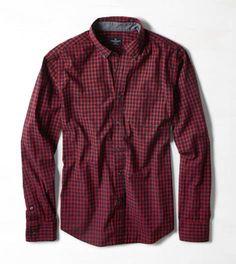 Burgundy AEO Plaid Button Down Shirt
