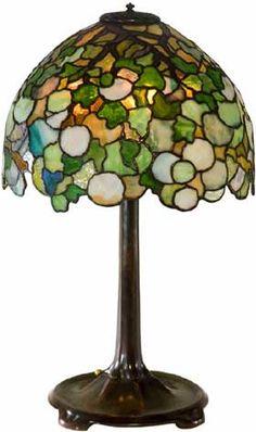 """Hydrangea table lamp by Tiffany Studios. 26"""" tall"""
