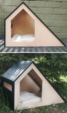 Niche design pour petits chiens et chats – HAMM - Pets Training Modern Dog Houses, Cool Dog Houses, Niche Design, Cat Design, Diy Niche Chien, Bunny Cages, Wood Shop Projects, Cat Room, Pet Furniture