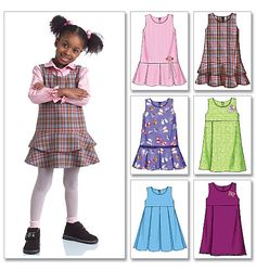 Butterick Sewing Pattern Toddlers'/Children's Drop or Raised-Waist Jumpers Toddler Sewing Patterns, Butterick Sewing Patterns, Baby Dress Patterns, Sewing For Kids, Baby Sewing, Sewing Ideas, Sewing Crafts, Sewing Projects, Pinafore Pattern