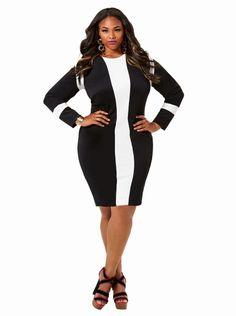 """Marcie"" Colorblock Dress - Black/Ivory - Clothing - Monif C"