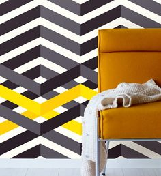 Graphical Style Interior Decoration - Funky Design Eijffinger Wallpaper Stripes Only in Black & Yellow!