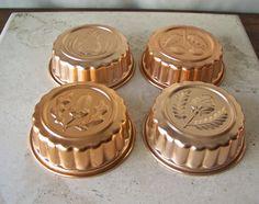 Vintage Aluminum Copper Tone Molds Kitchen Moulds by CynthiasAttic
