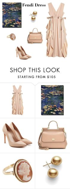 """Fendi Watercolor Dress"" by scolab ❤ liked on Polyvore featuring Fendi, Trademark Fine Art, Alexander McQueen, Dolce&Gabbana and Mikimoto"