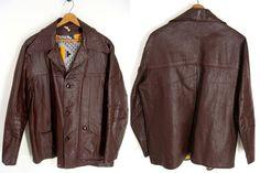 vintage 40s-60s Mens Brown Leather Jacket Car Coat 46 Large XL by wardrobetheglobe, $44.00