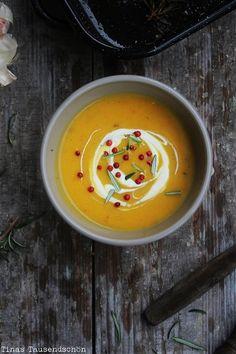 Tina's Tausendschön: Brrrrrr - es ist Suppenzeit im September! Roasted Pumpkin Soup!