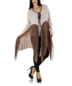 Look at this Beige Tie-Front Handkerchief Cardigan - Plus on #zulily today!