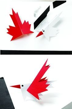 Maple leaf bird for Canada Day Leaf Crafts, Bird Crafts, Paper Crafts, Crafts For Kids To Make, Art For Kids, Summer Crafts, Holiday Crafts, Canada Day Crafts, Canada Day Party