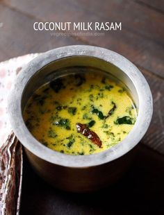 coconut milk rasam recipe with step by step pictures. coconut milk rasam is a delicious rasam variety. the rasam recipe is made with thick coconut milk, tamarind pulp, rasam powder and spices. Curry Recipes, Soup Recipes, Cooking Recipes, Capsicum Recipes, Cooking Pasta, Vegetarian Cooking, Vegetarian Recipes, Healthy Recipes, Cooking Curry