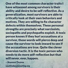 Very true, at least in my case. Upon further reflection, I decided my mother was a toxic, rude, insulting b****, who was using me socially, and not worth having around. One does not have to reflect upon oneself forever. Drop them. (LV!