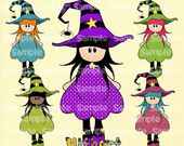 Halloween witch Nina dolls (0242) digital clip art set images for scrapbooking card making iron transfers jewelry printable crafts