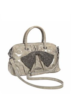 TWIN-SET Simona Barbieri: Medium box bag, leatherette, with metallic knitted bow, double handle and shoulder strap