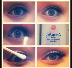 """This really works!!  Apply one coat of mascara, dust q-tip with baby powder and use it to seperate lashes. Apply more mascara to lashes to get """"falsies"""" look"""