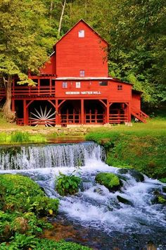 Beautiful red water mill on water's edge, my favorite!!