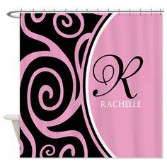 Elegant Black Pink Swirls Monogram Shower Curtain