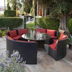 patio gastronomie outdoor möbel set esstisch sofas rote auflage, Esstisch ideennn