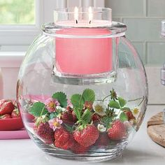 pink candle, strawberries.....looks so yummy!