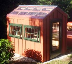 I love this classic color combo on our 6' x 8' Greenhouse. Dark green trim on the opening windows and wooden screen/glass door. Translucent roofing brings optimal light into your growing space. Available as shed kits (estimated assembly time - 1 person, 25 hours), DIY shed plans ($50), or a fully assembled building. http://jamaicacottageshop.com/shop/green-house/ http://jamaicacottageshop.com/wp-content/uploads/pdfs/pdf6x8gh.pdf