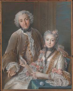 Double portrait believed to show François de Jullienne and his wife, Marie Élisabeth de Séré de Rieux, Charles Antoine Coypel, pastel, black chalk and watercolor on paper, 1743.