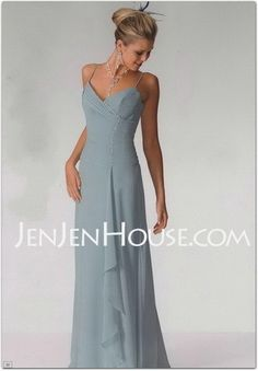 Graceful A-Line/Princess V-neck Floor-Length Chiffon Bridesmaid Dress with Ruffle Blue Springs, Ruffles, Chiffon, Bridesmaid Dresses, Floor, V Neck, Princess, Formal Dresses, My Style