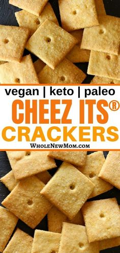 Homemade Cheez Its® Crackers made healthier! With this grain-free, keto, and dairy-free version of your favorite childhood cracker, you can eat a bunch guilt-free! Enjoy this delicious homemade, healthy snack. Dairy Free Recipes, Vegan Gluten Free, Low Carb Recipes, Real Food Recipes, Paleo Food, Paleo Snack Recipes, Paleo Bread, Paleo Baking, Dairy Free Options