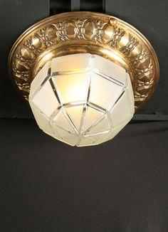 Traditional Vintage Flush Mount with Cast Glass, c.1930. www.myrlg.com #vintage #lighting