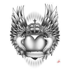 Heart crown wing  tattoo with hands Holding the heart. black and grey commissioned art. banner