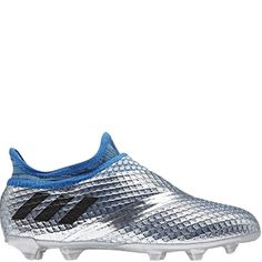 803724e5b22 adidas Messi 16+ Pureagility Silver Metallic Black FG Youth Soccer Cleats -  model AQ3110