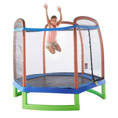 Durable 7 Foot Trampoline Set Enclosed With Tic Tac Toe ~ It's time for some big, bouncing fun with this 7 Foot Trampoline Set with Enclosure. The large 7-foot, enclosed, jumping area is extra durable for young jumpers and has just the right amount of bounce. The safety net enclosure on all sides helps keep your children safe as well as the padded frame providing extra protection. This trampoline also includes a tic-tac-toe game mat with chalk and chalk holder.