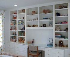 built-ins with desk! I want this with doors for sewing room!!! #GlassShelvesLibrary #site:glassshelveshq.top